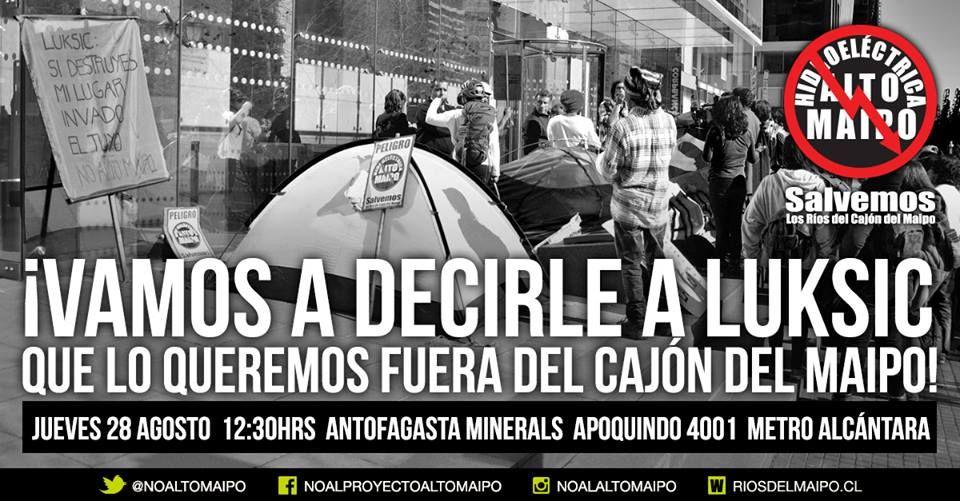 Manifestación pacífica #No Alto Maipo este 28 de agosto
