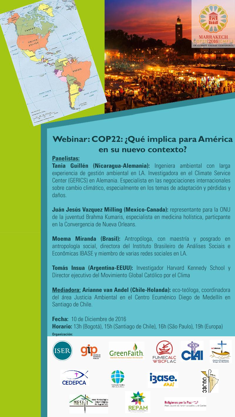 Sábado 10: Webinar sobre la última conferencia por el clima de la ONU