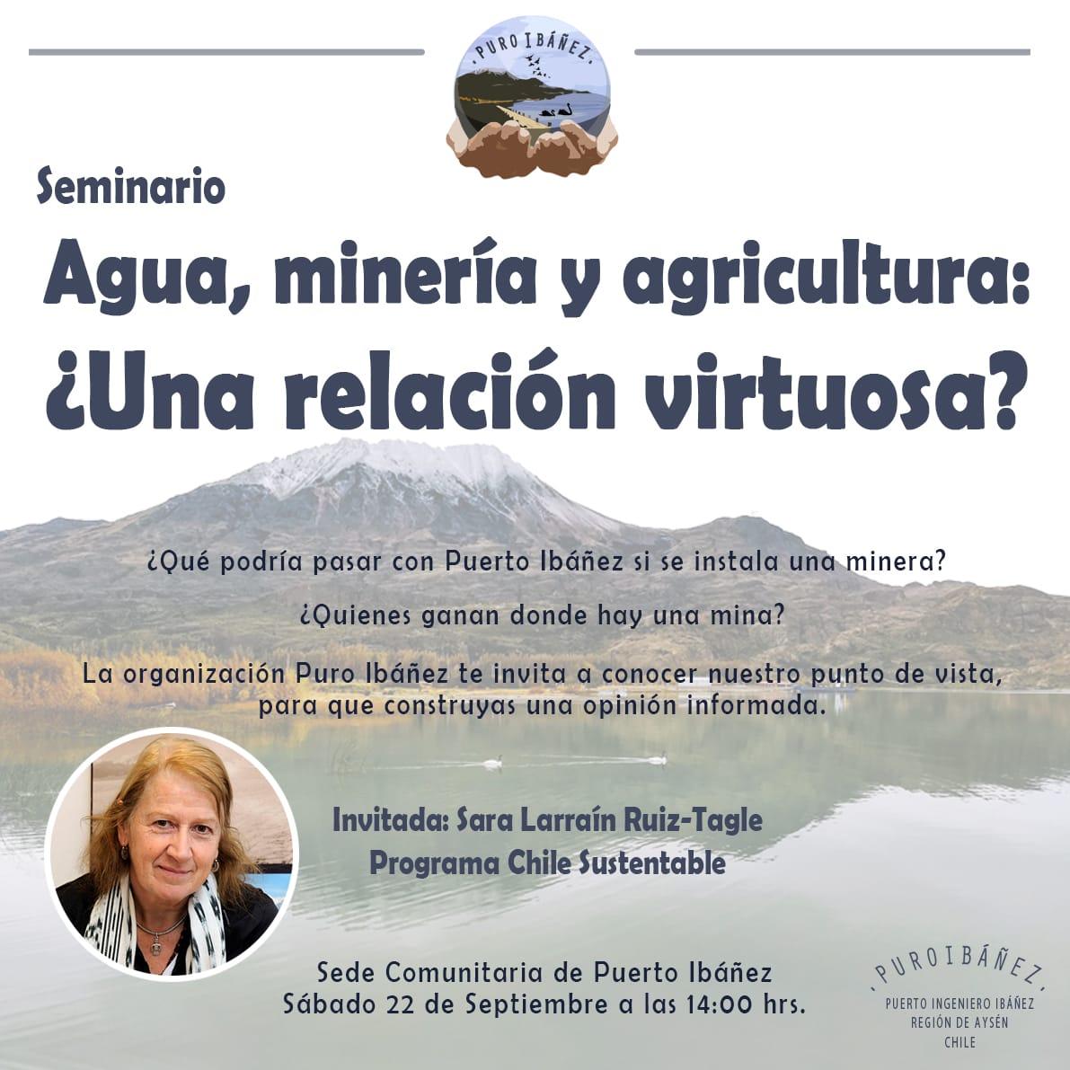 """Sara Larraín será oradora principal de seminario """"Agua, minería y agricultura: ¿Una relación virtuosa?"""""""